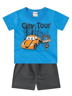 Conjunto Brandili Camiseta e bermuda City Tour Azul