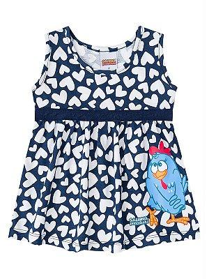 Vestido Brandili Galinha Pintadinha Azul Marinho