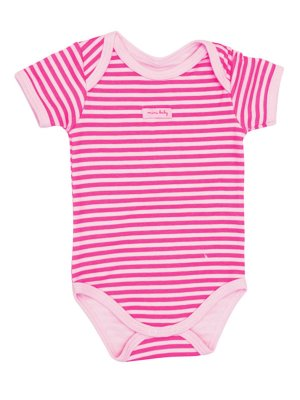 Body Mini Baby Curta Suedine Listras Rosa