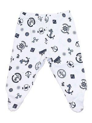 Calça Mijão Mini Baby Navy Branca