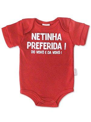 Body Divertido para Bebê Sonho Meu Netinha Preferida Vermelho