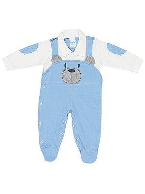 Macacão Sonho Meu Longa Malha Urso Azul