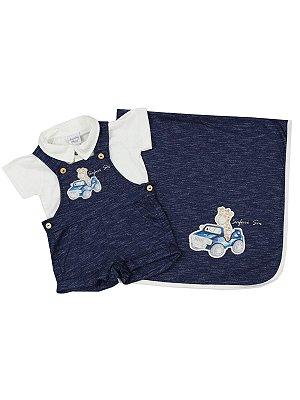 Saída de Maternidade Sonho Meu Curto Safari Azul Marinho