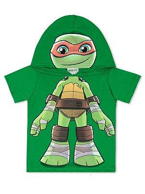 Camiseta Marlan Curta com Capuz Tartarugas Ninja Verde