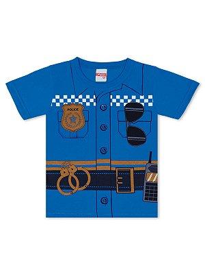 Camiseta Marlan Fantasia Policial Curta Azul