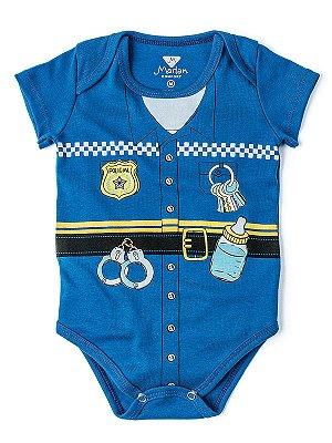 Body Divertido Profissões Marlan Policial Azul