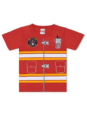 Camiseta Marlan Curta Fantasia Bombeiro Vermelha