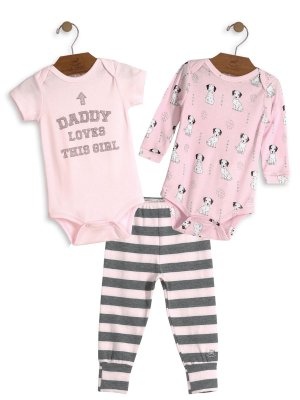 Kit 3 peças Up Baby Daddy Loves This Girl Bodies e Calça Rosa