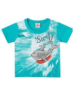 Camiseta Brandili Curta Malha Tubarão Surf Verde