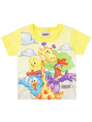 Camiseta Brandili Galinha Pintadinha Curta Amarela