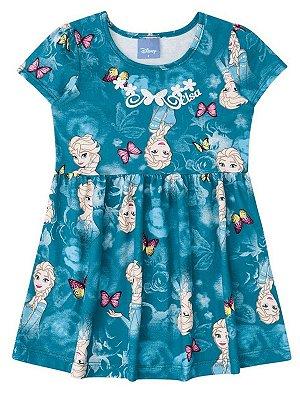 Vestido Brandili Curto Frozen Elsa Malha Verde