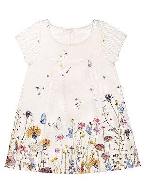 Vestido Charpey Sarja Maquinetada Floral Branco