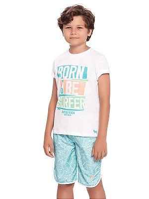 Conjunto Charpey 2 peças Camiseta e Bermuda Born To Be Surfer Branco