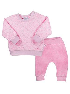 Conjunto RoseBud Blusa em Plush com Textura e Calça Plush Rosa
