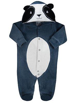 Macacão RoseBud Longo em Plush com Capuz Panda Azul