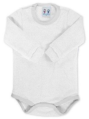 Body para Bebê RoseBud Longa em Soft Glacê Peluciado Branco