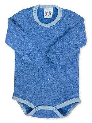 Body para Bebê RoseBud Longa em Soft Glacê Peluciado Azul