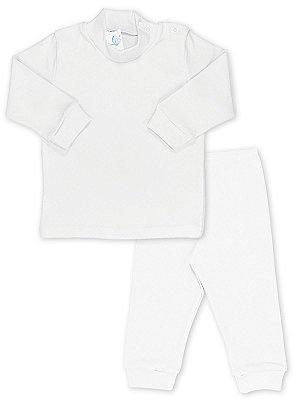 Conjunto Blusa e Calça Canelada RoseBud 2 peças Branco