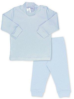 Conjunto Blusa e Calça Canelada RoseBud 2 peças Azul