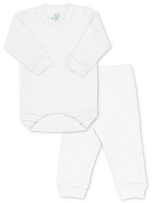 Conjunto RoseBud Body e Calça Malha Canelada Branco