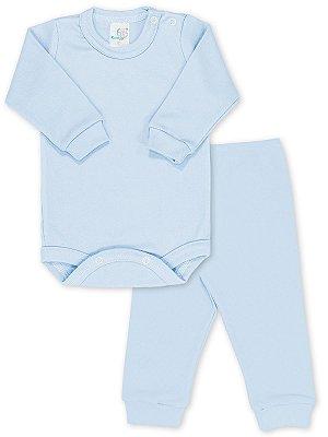 Conjunto RoseBud Body e Calça Malha Canelada Azul
