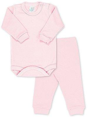 Conjunto RoseBud Body e Calça Malha Canelada Rosa