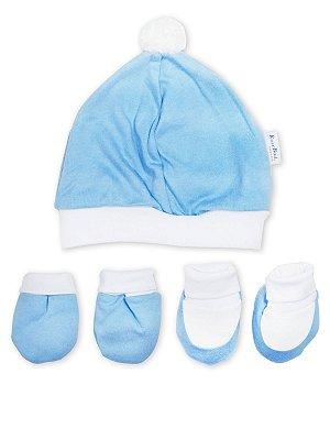 Kit 5 peças RoseBud Touca Luva e Pantufa em Malha Azul Claro