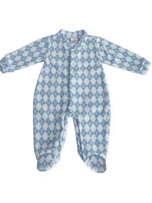 Pijama Macacão Sonho Meu longo em Plush Fofinho Xadrez Azul
