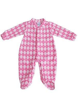 Pijama Macacão Sonho Meu longo em Plush Fofinho Xadrez Rosa