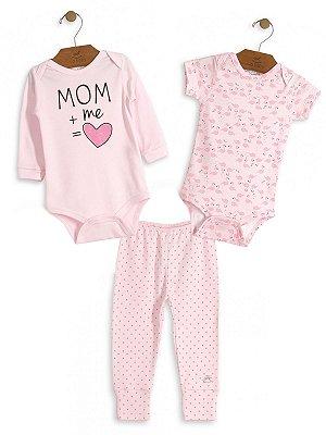 Kit 3 peças Up Baby MOM + me Bodies e Calça Rosa