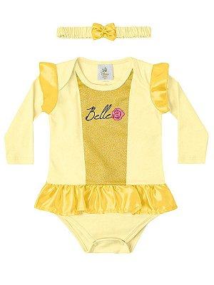 Body Marlan com Tiara Fantasia Longa Princesa Bela Amarelo