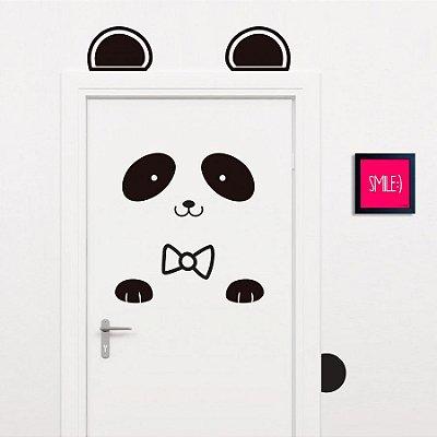 Adesivo Decorativo Infantil Stixx de Parede ou Porta Panda Cute Preto