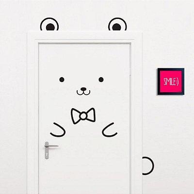 Adesivo Decorativo Infantil Stixx de Parede ou Porta Ursinho Bear Cute Preto