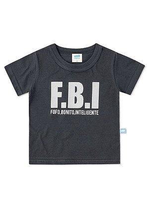 Camiseta Marlan fantasia FBI Curta Cinza Chumbo