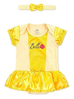 Body Marlan com Tiara Fantasia Bela Amarelo