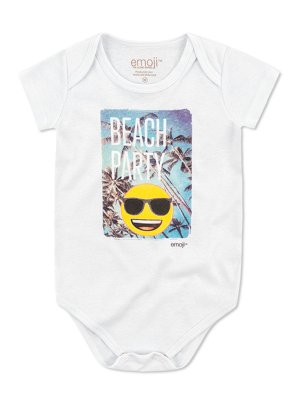 Body Divertido Marlan Curta Emoji Beach Party Branco