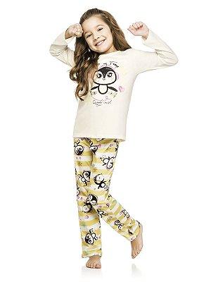 Pijama Quimby Longo Blusa e Calça Malha Creme