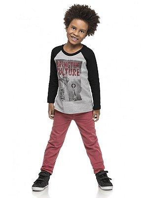 Conjunto Quimby 2 peças Camiseta Longa e Calça Sarja Preto