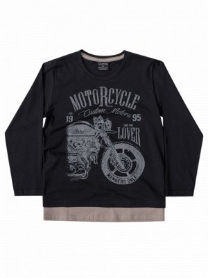 Camiseta Quimby Malha Longa Motorcycle Preta