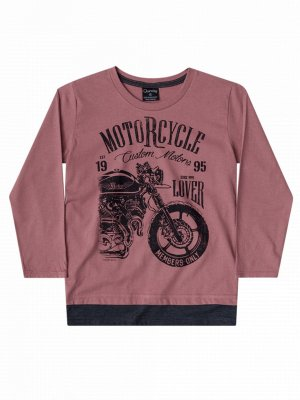 Camiseta Quimby Malha Longa Motorcycle Rosa Antigo