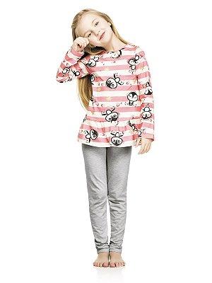 Pijama Quimby Blusa Longa em Malha e Calça Cotton Pink