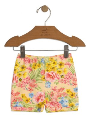 Short Up Baby Suedine Floral Amarelo