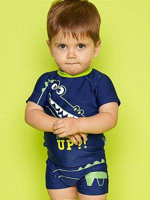 Conjunto Puket 2 peças Camiseta e Sunga Baby Fantasia FPS Jacaré Azul