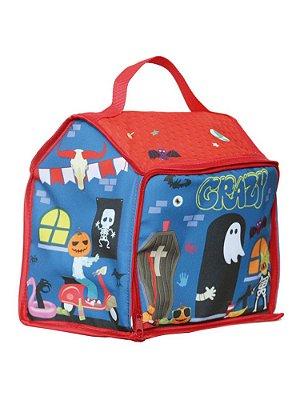 Bolsa Ó Design Infantil para Brinquedo Casa Monstro Vermelha