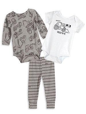 Kit 3 peças Up Baby Trator Bodies e Calça Cinza