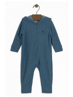 Macacão Up Baby em Plush Buckle Capuz Azul