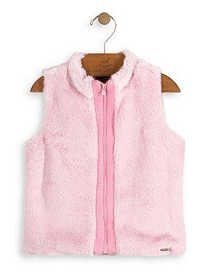 Colete Up Baby Infantil em Pêlo Rosa
