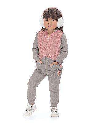 Conjunto Up Baby Menina 2 peças Jaqueta com Pêlo e Capuz e Calça Moletom