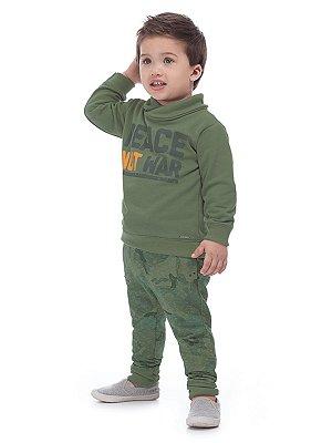 Conjunto Up Baby 2 peças Menino Blusão e Calça Moletom Militar Verde