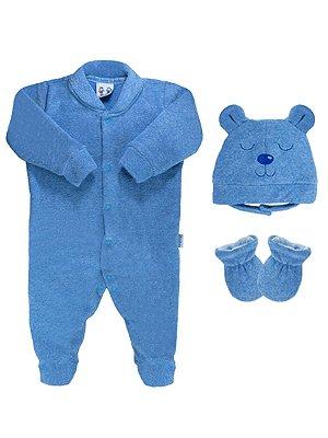Conjunto RoseBud 3 peças Macacão Longa Touca e Luvinhas Azul